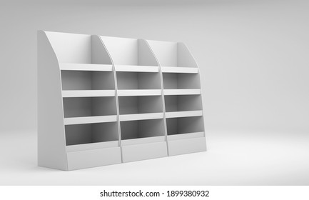 Three Blank Empty Shelf Display In A ROW. Carton Advertisement Stand,  3D rendering