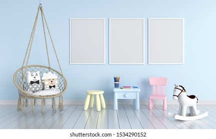 Three blank photo frame for mockup in blue children room, 3D rendering