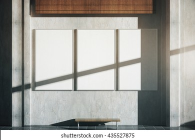 Three blank posters with shadow in interior with bench, concrete wall and patterned tile floor. Mock up, 3D Rendering
