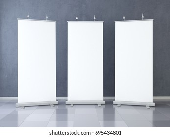 Three Blank roll up banner display. Template mockup. 3d render