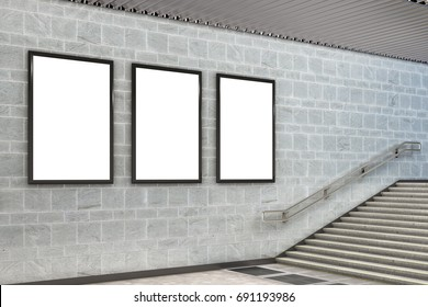Three blank vertical billboard poster underground. 3d illustration