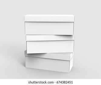 three blank white paper boxes piled up for design in 3d rendering