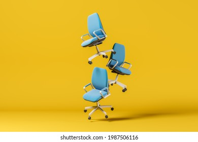 Three blue office chair floating in the air on a yellow background. The concept of office work. 3d rendering