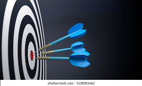 three blue typical dart arrows 3D illustration