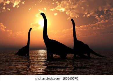 Three Brachiosaurus in a lake realistic 3D render