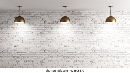 Three brass lamps over grunge brick wall room interior background 3d render
