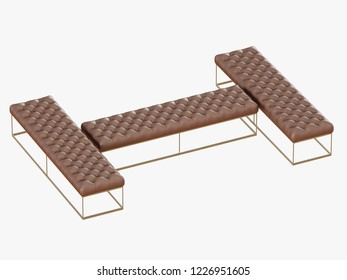 Three brown bench capitone on a steel frame 3d rendering
