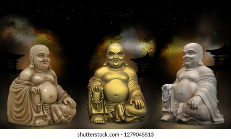 Three Buddha statues in different versions (bronze, ivory (netsuke), marble) on a star background. 3d illustration. Wallpaper.