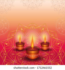 Three burning candles on a golden mandala. Background for holiday festival of lights Diwali.