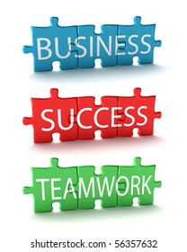 Three business related puzzles over white background