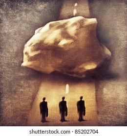 three businessmen & obstacle - metaphor (symbolic loose painting)
