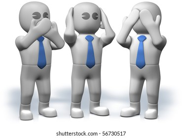 Three businessmen who act three famous monkeys