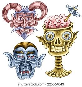 Three cartoon spooks - a deaf devil, a vampire, a skull - pencil drawing
