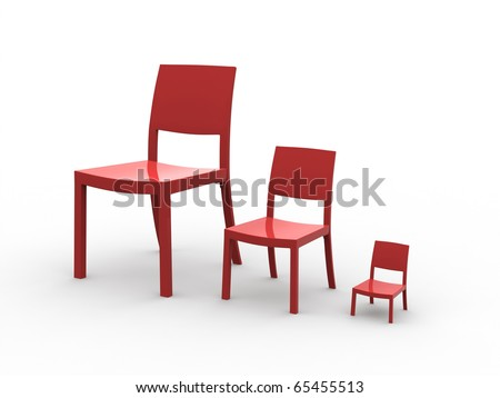 Three chairs. Conceptual mini normal and oversized chair isolated on a white background.  sc 1 st  Shutterstock & Three Chairs Conceptual Mini Normal Oversized Stock Illustration ...