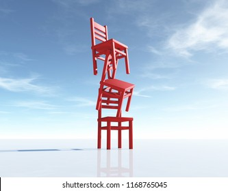 Three chairs in equilibrium on blue background. This is a 3d render illustration