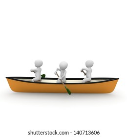 Three characters rowing together on a river in a canoe.