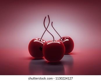 three cherrys on the table 3d illustration