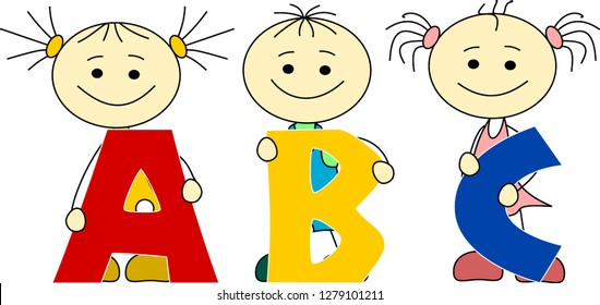 Three children holding characters - ABC