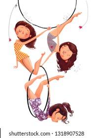 three circus perfopmers - air gymnasts girls with hoop
