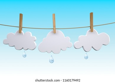 three clouds hanging by clothes peg on a clothesline, 3d illustration