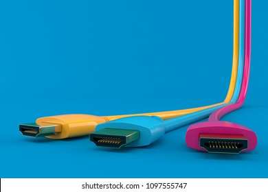 Three color. 3d illustrationed HDMI cables isolated on blue background. 3d illustration