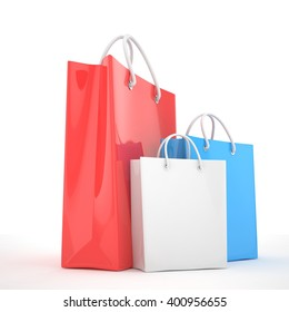 Three color paper Shopping bag isolated on white. Shopping concept 3d rendering.