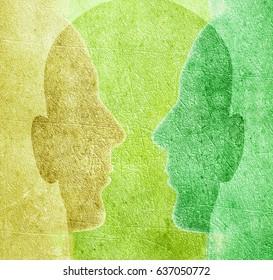 three colored heads digital illustration