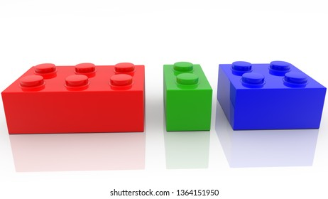 Three colorful toy bricks in various sizes.3d illustration