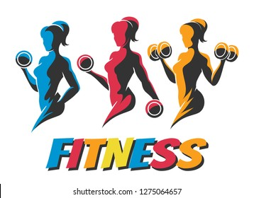 Three Colorful Woman Holding Weight Silhouettes.B odybuilder Logos Templates Set. Fitness Logo Design, Emblem Graphics. Illustration.