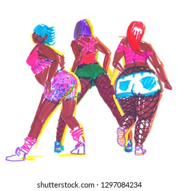 Three confident booty dancers in bright clothes. Sketch illustration painted in highlighter felt tip pen on clean white background