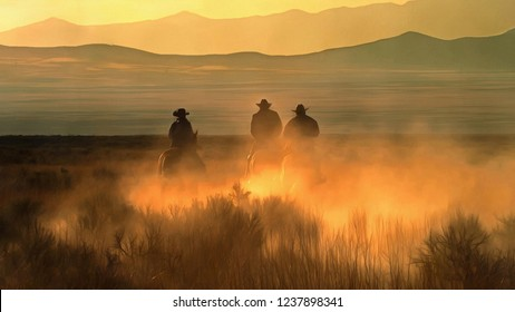 Three cowboy galloping on a background of mountains