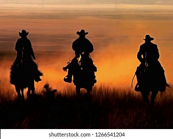 Three cowboys galloping across the Prairie