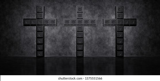 Three crosses made up of guitar amps in a dark space against a concrete wall. 3D Render