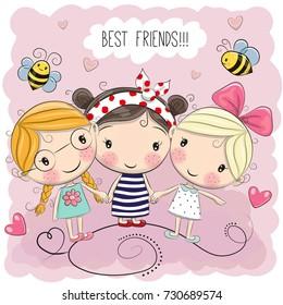 Three Cute cartoon girls on a pink background