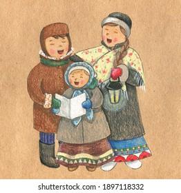 three cute children singing carols