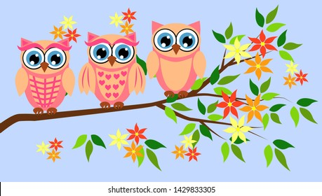 Three cute owls with big eyes in a trendy coral color on a blossoming tree branch, design, spring concept