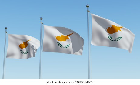 Three Cyprus flag waving against blue sky. Three dimensional rendering 3D illustration.