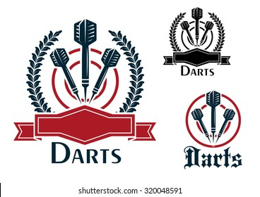 Three Darts sporting emblems or badges with darts on a dart board, two with laurel wreaths and blank ribbon banners and one plain all with text - Darts - below for sport and leisure design