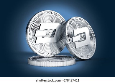 Three Dash concept physical coins displayed on gently lit dark blue background. 3D rendering. New virtual money