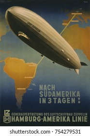 Three Days to South America! Hamburg-America Line. Travel Poster promoting Graf Zeppelin route from Friedrichshafen to Buenos Aires. 1937.