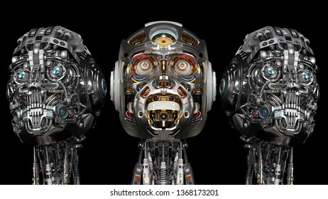 three detailed robot heads or futuristic cyborg faces isolated on black background. 3d render