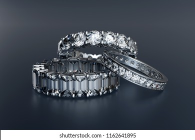 Three diamond eternity wedding bands on glossy blue background. 3D illustration