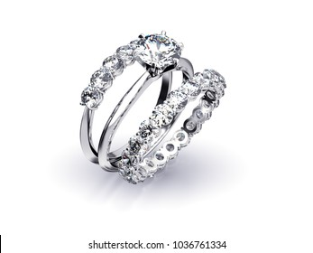 Three diamond rings, engagement solitaire, eternity, half circle on white background.  3D rendering illustration