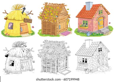 Three different cute houses. A straw hut, a house made of sticks and a brick house. Three little pigs. Fairy tale. Coloring book. Coloring page. Funny cartoon characters