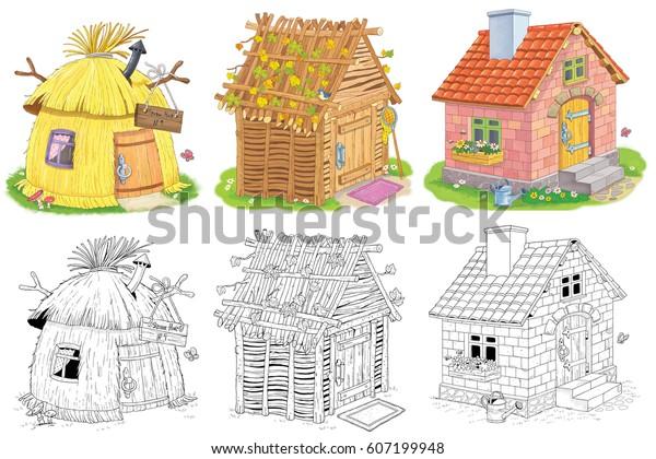 Uc Farkli Sevimli Ev Bir Saman Stok Illustrasyon 607199948