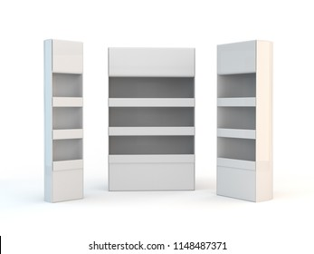 Three Different Empty Product Stands. 3D render