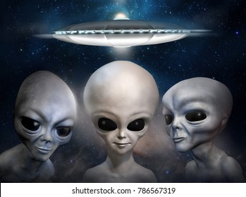 Three different grey aliens on the background of cosmic sky and flying saucer. 3D illustration.