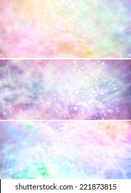 Three different sparkling colorful flowing angelic background banners