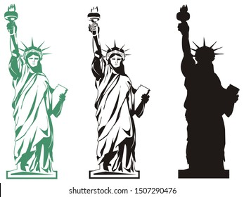 three different statue of liberty in NY