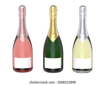 Three Differente Bottles Of Champagne Set - 3D Render